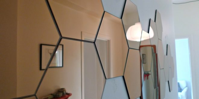 Wall-Mirror-Design-remarkable-hexagon-wall-mirror-design-ideas-on-white-colour-paint-feat-wooden-floating-shelf