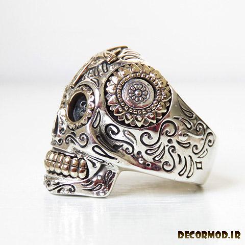 mexican sugar skull ring 1 - انگشتر نقره مردانه دست ساز + تصاویری از جدید ترین مدل های انگشتر نقره