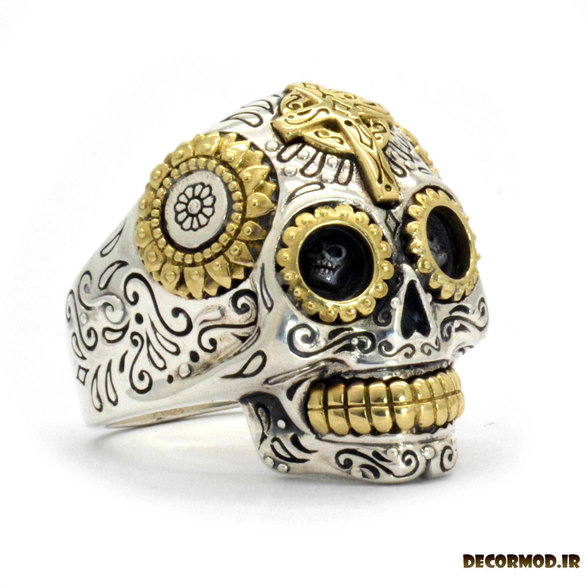 ring mexican sugar skull ring 1 - انگشتر نقره مردانه دست ساز + تصاویری از جدید ترین مدل های انگشتر نقره
