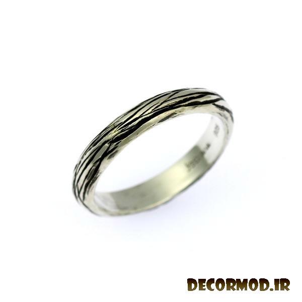 rings 4mm sterling silver bark band ring 1 grande - انگشتر نقره مردانه دست ساز + تصاویری از جدید ترین مدل های انگشتر نقره