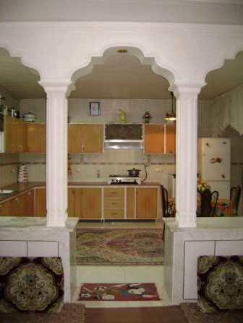 اپن آشپزخانه با گچ
